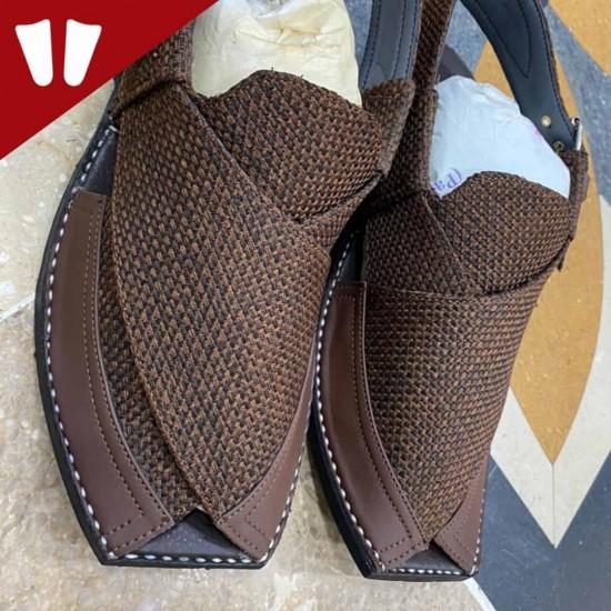 Stylish Waistcoat (material) Peshawari Chappal - Handmade - Dark Brown