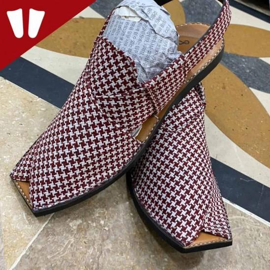 Stylish Waistcoat (material) Peshawari Chappal - Handmade - Red-Doted