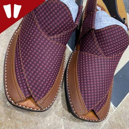 Stylish Waistcoat (material) Peshawari Chappal - Handmade - Doted Purple
