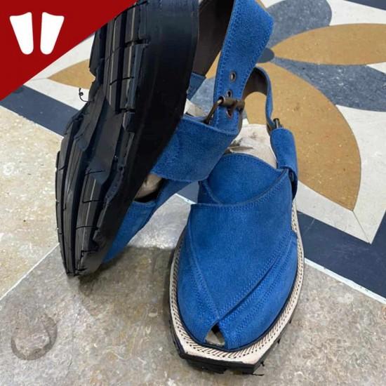 Original Norozi Chappal - Suede (Sabar)- Handmade - Blue