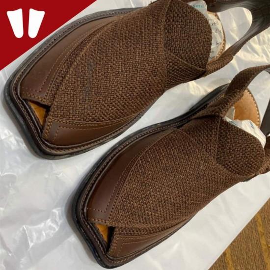 Single Sole Branded Peshawari Chappal - Pure Leather Peshawari Sandal- Handmade - Chocolate