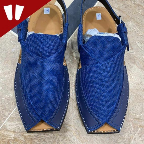 Stylish Waistcoat (material) Peshawari Chappal - Handmade - Blue