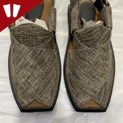 Stylish Waistcoat (material) Peshawari Chappal - Handmade - Grey
