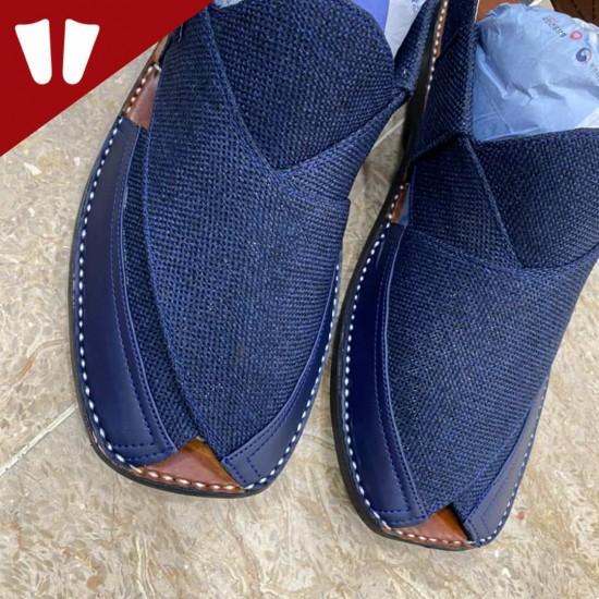 Stylish Waistcoat (material) Peshawari Chappal - Handmade - Dark-Blue