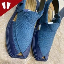 Single Sole Branded Peshawari Chappal - Pure Leather Peshawari Sandal- Handmade - Blue