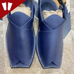 Peshawari Chappal - Pure Leather - Handmade - Doted Blue