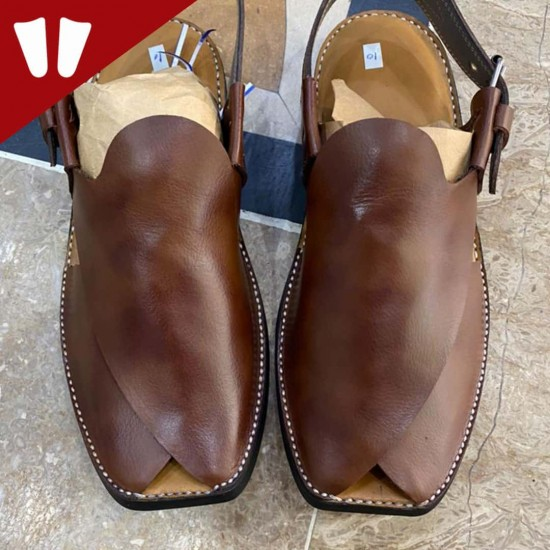 Peshawari Chappal - Pure Leather - Full in One leather Piece - Double Shade