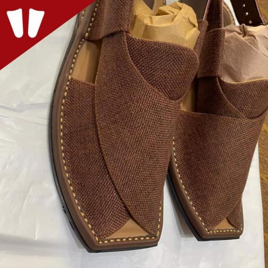 Stylish Waistcoat (material) Peshawari Chappal - Handmade - Brown Red