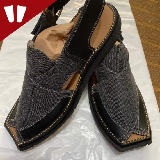 Stylish Waistcoat (material) Peshawari Chappal - Handmade - Black