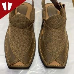 Stylish Waistcoat (material) Peshawari Chappal - Handmade - Brown