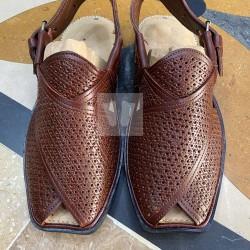 Peshawari Chappal - Pure Leather - Handmade - Dotted Brown