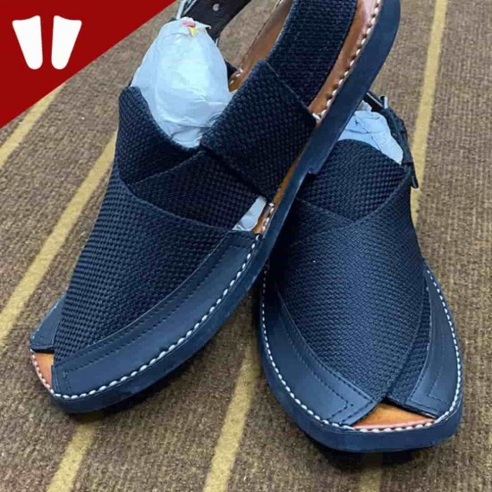 Double Sole Branded Peshawari Chappal - Pure Leather Peshawari Sandal- Handmade - Dark Blue