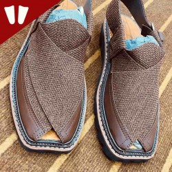 Double Sole Branded Peshawari Chappal - Pure Leather Peshawari Sandal- Handmade - Chocolate