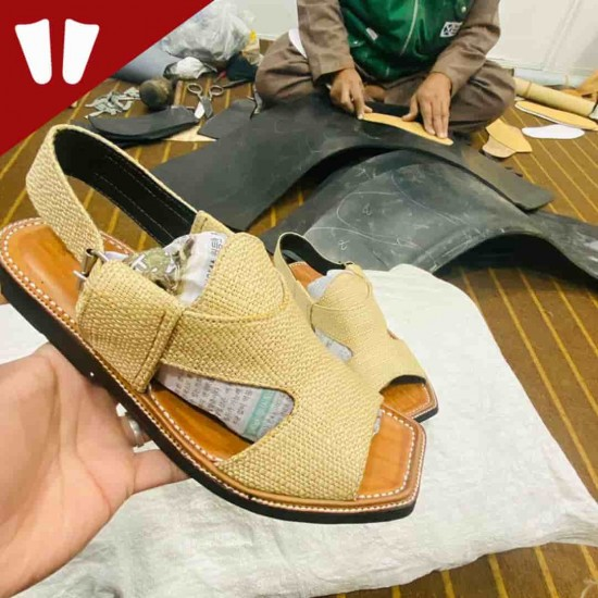 Branded Peshawari Chappal - Pure Leather - Handmade Peshawar Sandal - Golden