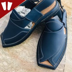 Branded Peshawari Chappal - Pure Leather - Handmade - Blue