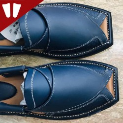 Branded Peshawari Chappal - Pure Leather - Handmade - Blue