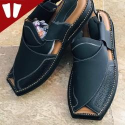 Branded Peshawari Chappal - Pure Leather - Handmade - Dark Grey