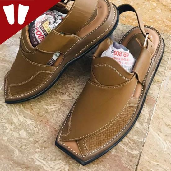 Branded Peshawari Chappal - Pure Leather - Handmade - Light Brown