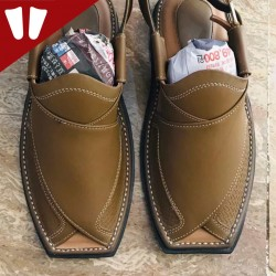 Branded Peshawari Chappal - Pure Leather - Handmade - Light Brown