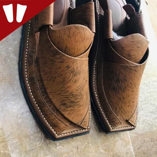 Branded Peshawari Chappal - Pure Leather - Handmade - Brown Liner