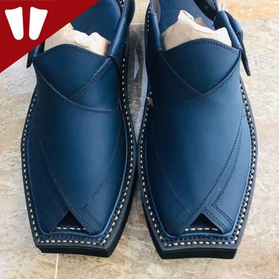 Kaptaan Chappal - Pure Leather - Handmade - Blue