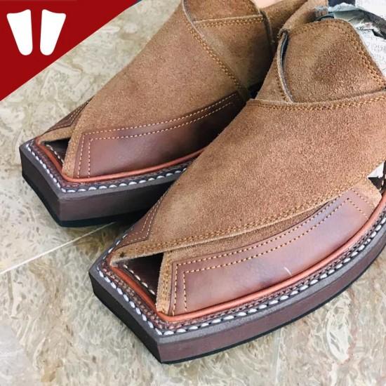 Kaptaan Chappal - Pure Leather - Handmade - Suede Brown