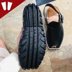 Peshawari Chappal - Double Sole - Pure Leather - Handmade - Black