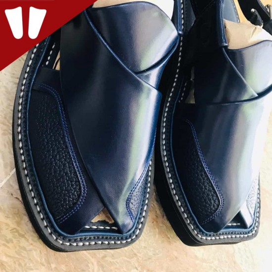 Peshawari Chappal - Double Sole - Pure Leather - Handmade - Blue