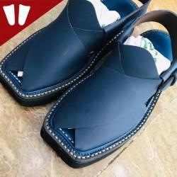 Peshawari Chappal - Double Sole - Pure Leather - Handmade - Blue