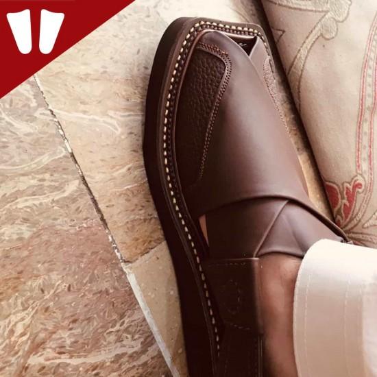 Peshawari Chappal - Double Sole - Pure Leather - Handmade - Dark - Brown