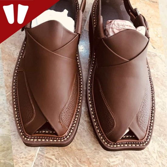 Peshawari Chappal - Double Sole - Pure Leather - Handmade - Dark - Brown