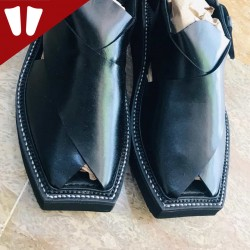Peshawari Chappal - Double Sole - Pure Leather - Handmade - Black
