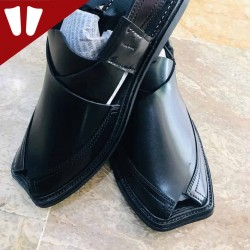 Peshawari Chappal - Pure Leather - Handmade - Black