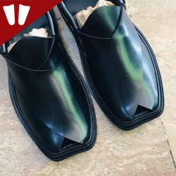 Peshawari Chappal - Pure Leather - Handmade - Black