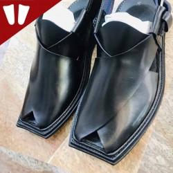 T - Peshawari Chappal - Pure Leather - Handmade - Black