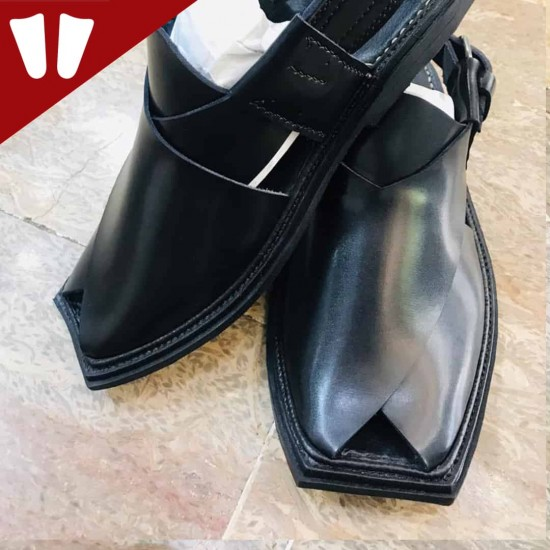 T - Peshawari Chappal - Pure Leather - Handmade - Black