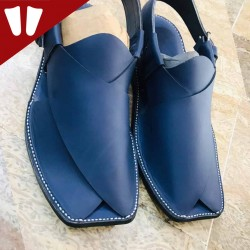 Peshawari Chappal - Pure Leather - Handmade - Blue