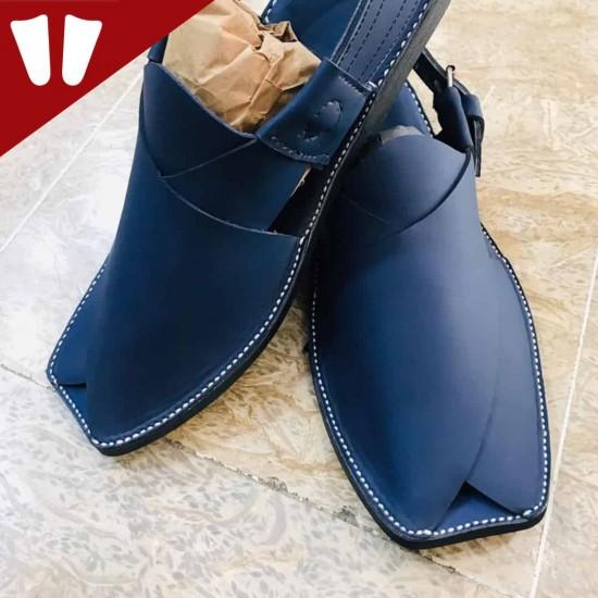Peshawari Chappal - Pure Leather - Handmade - Blue