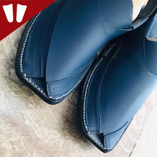Peshawari Chappal - Pure Leather - Handmade - Dark Blue