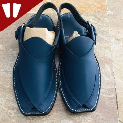 Peshawari Chappal - Pure Leather - Handmade - Dark Blue