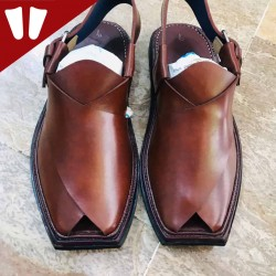 T - Peshawari Chappal - Pure Leather - Handmade - Brown