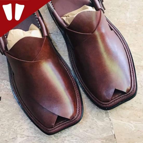 Peshawari Chappal - Pure Leather - Handmade - Brown