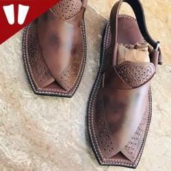 Peshawari Chappal - Pure Leather - Handmade - Dotted Brown