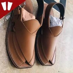 Peshawari Chappal - Pure Leather - Handmade - Line - Brown