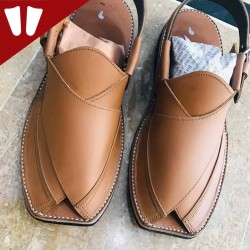 Peshawari Chappal - Pure Leather - Handmade - Line - Brown