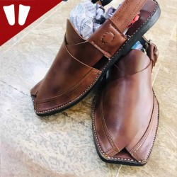 Peshawari Chappal - Pure Leather - Handmade - Doted Brown