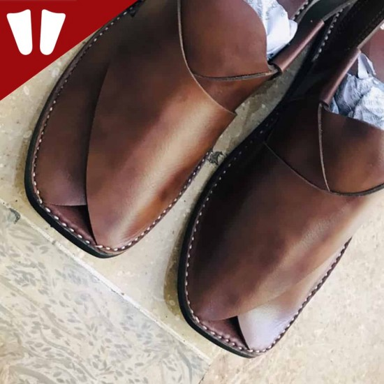Peshawari Chappal - Pure Leather - Handmade - Brown