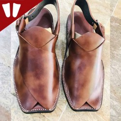 Peshawari Chappal - Pure Leather - Handmade - Doted Brown