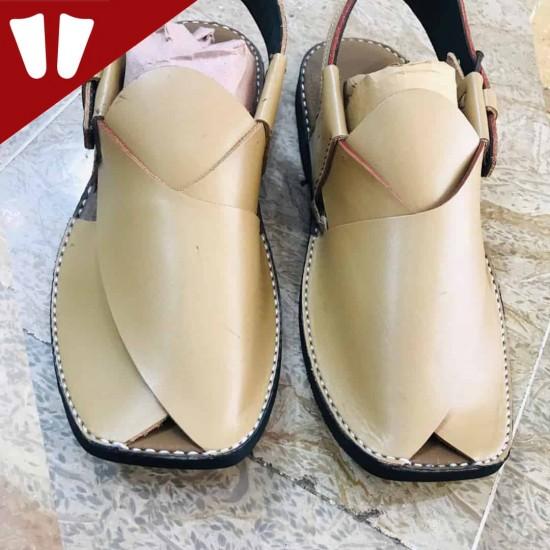 Peshawari Chappal - Pure Leather - Handmade - White