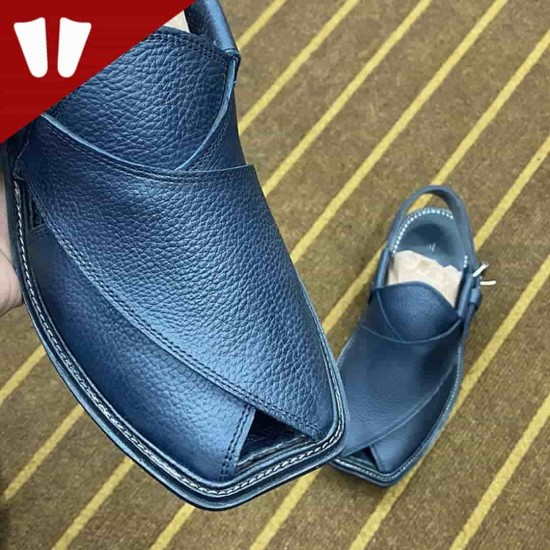 Peshawari Chappal - Pure Leather Peshawari Sandal - Handmade - Side Strip - Blue